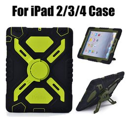 Heavy Duty Military duty hybrid silicone life shockporoof dirt proof defender case cover for iPad 2 3 For iPad 4 with retail box Free Ship