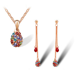 Water Drop Necklace Earrings Sets Full Rhinestone Jewelry Sets Seven color crystal necklace Sets Women Jewelry set5054