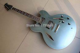 Free shipping Semi Hollow Jazz Custom DG335 Dave Grohl signature light blue Metal Electric Guitar 120315