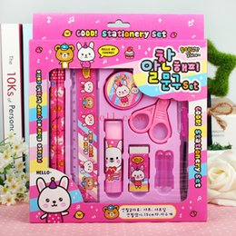 Wholesale Stationery Sets Korea Creative Primary Prize School Supplies Gift Pencils Ball point Pen Pencil Sharpener Scissors Rubber Glue Ruler hot