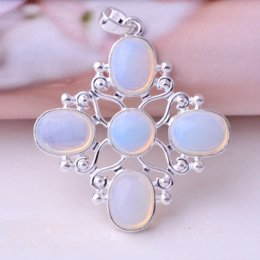 Hot Natural Light Blue Opal Pendant For Necklace Lady Gem Silver Jewellery pendant topaz pendant long