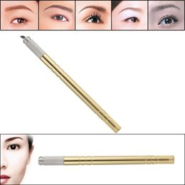 1Pc Permanent Manual Eyebrow Tattoo Pen Stainless Steel Embroidered Eyebrow Tattooing Pen Positioning Tattoo Pencil Golden