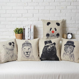 Hipster Chic Animal Tiger Lion Leopard Panda Bear Print Pillows Covers Cushion Cover Sofa Couch Throw Decorative Linen Cotton Pillow Case