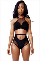 Tankini negro l en venta-Negro atractivo del bikini Racer 2015 Nueva DesignerTwo piezas de malla remiendo del traje de baño del bikini de la vendimia ahueca hacia fuera el vendaje bikini traje de Tankini BKA072