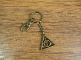 Wholesale Deathly Hallows keychain Harry potter keyring with swivel clasp Keychain Antique brass keychain Best Chosen Gift