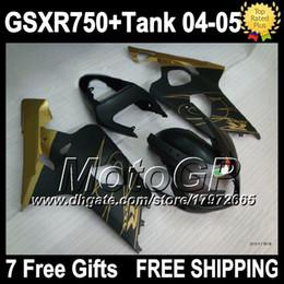 7gifts+Tank For SUZUKI K4 GSXR 750 GSX R750 04 05 2004 2005 Matte gold 3G5390 GSX-R750 GSXR750 Body GSXR-750 04-05 Fairing Kit Flat black