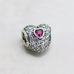 925 Sterling Silver In My Heart Charm Bead with Ruby Cz Fits European Pandora Jewelry Bracelets & Necklaces