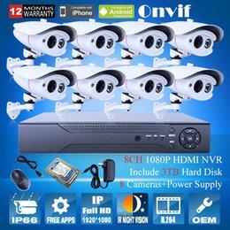 Vidéos hd ir gratuits en plein air en Ligne-Système de caméra IP caméra 2MP sécurité CCTV Network Bullet Livraison gratuite 3TB HDD 8CH NVR Surveillance vidéo HD 1080P Outdoor IR