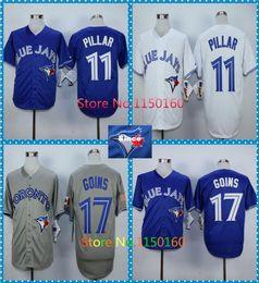 30 Teams- Newest 11 Kevin Pillar Jersey Toronto Blue Jays 17 Ryan Goins Jersey Blue White Grey Baseball Cheap Discount