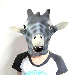 Masque de tête de girafe en latex de haute qualité pour les fêtes de mascarade d'Halloween Costume Ball Festive Party Supplies à partir de girafe haute fournisseurs