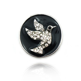 Brand New Fashion 18mm Snap Buttons Rhinestone Peace Dove Metal Clasps Sewing DIY Bracelet Jewelry Accessories