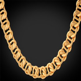 "U7 18K Stamp Gold Chain Necklace Bracelet Women Men Jewelry Set 18K Real Gold Plated 22"" 8 MM Chains Fashion Accessories"