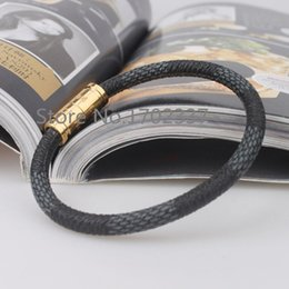 Wholesale-Italian style Super A quality fashion keep it damier leather bracelets brand name 18K yellow gold stainless steel for couples
