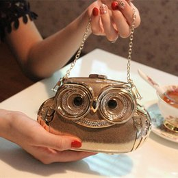 2016 Lovely Owl Bridal Hand Bags Chain Casual Clutches Women Bridal Party Bags Crystals Rhinestones Mini wedding Accessories Gown Fashion