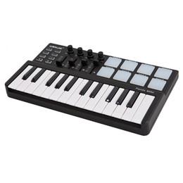 Wholesale Worlde Panda Mini Portable MIDI Velocity Sensitive Keys USB Keyboard and Drum Backlit Trigger Pads Controller Black Color I1429