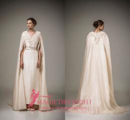 Elegant A Line Evening Formal Dresses 2019 Mulsim Long Sleeves Appliques V-Neck Floor Length Evening Gowns robes de soirée