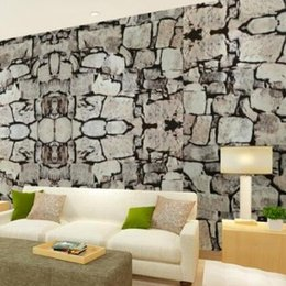 Wholesale 3D Luxury Natural Grey Brick Wall Stone Rock Slate Effect M Vinyl Wallpaper Roll papel de parede tapete R403