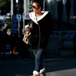 Wholesale-Tops 2015 Korean Women Winter Warm Hooded Oblique Zipper Outerwear Long Hoodie Jacket Coat Tops
