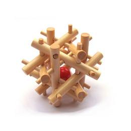 Descuento bola jaula Al por mayor-China antigua ancestral Cerraduras tradicional de madera cerebro teaser puzzle juguetes educativos Ming Luban bola de bloqueo en una jaula de Puzzle