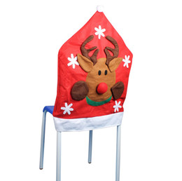 Wholesale Beautiful Christmas Chair Covers Craft Art Red Christmas Seat Caps Cover Festive Party Decoration SD712 Online
