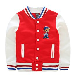 Wholesale Boys Baseball Jacket Little Bear Cartoon Embroidery Outerwear For Kids All Cotton Long Sleeve Casual Coats For Children K714