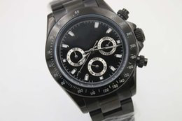 Luxury mens automatic mechanical watch wristwatch full black pvd stainless steel original clasp sapphire glass quality