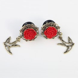 Wholesale Ear Tunnels Plugs Acrylic Ear Gauges Rose Ear Expander With Antique Gold Bird Pendant Body Piercing Jewelry For Women