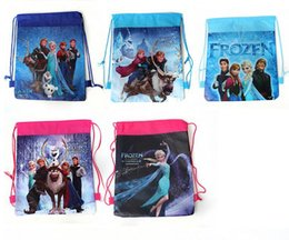 Promotion enfants cordon sacs d'école Frozen non-tissé Sacs scolaires enfants mochila Cartoon cordonnet sacs pour les adolescents fille sac à dos de bande dessinée d'impression