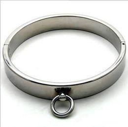 Anillo de metal espejo en venta-Bondage Collar metálico restringir collares pesados acero cromado pulido hierro grueso de cuello masculino anillo espejo del Collar de bloqueo