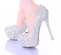Wholesale 10 cm Stiletto Heel Wedding Shoes Luxury Sparkly AB Crystal Bride Formal Dress Shoes Platform Rhinestone Party Prom Heels