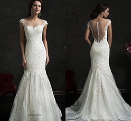 Wholesale 2016 Amelia Sposa Sping Summer Lace Mermaid Wedding Dresses Cap Sleeves Crew Sheer Neckline Transparent Button Back Appliques Bridal Gowns