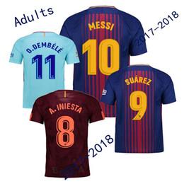 2017 2018 MESSI DEMBELE home away PIQUE SUAREZ jersey 17 18 NELSINHO PAULINHO INIESTA RAKITIC Red Blue Sports shirts