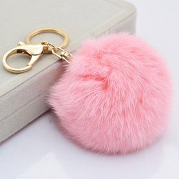 Wholesale The real rabbit fur ball plush key chain for car key ring Bag Pendant car keychain Good quality colors