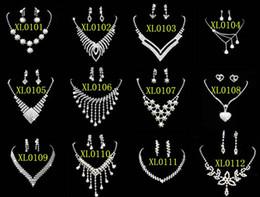 925 ensembles de mariée à vendre-Fashion 925 Silver Rhinestone Cristal Perle Gemstone Jewelry Colliers Bracelets Bagues Boucles d'oreilles Ensemble de bijoux nuptiaux de mariage Livraison GRATUITE