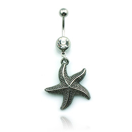 Body Jewelry Fashion Belly Button Ring Stainless Steel Dangle Retro Starfish Charms Navel Rings Piercing Jewelry