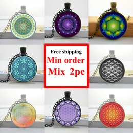 NS--00484 Flower of Life Necklace Flower of Life Pendant Mandala Jewelry Glass Dome Pendant Necklace
