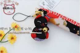 Wholesale x Kawaii lucky cat mobile phone strap charm cell phone chain Bag Pendant key chain with gold bell