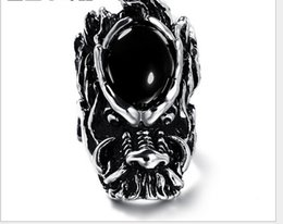 Wholesale new new vintage exaggerate dragon head ring inlay black agate men s ring mix ring RC B