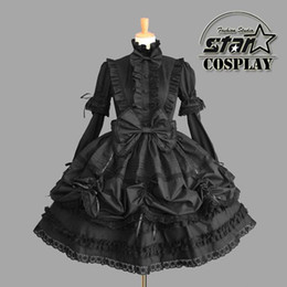 Wholesale Cinderella Princess Cotton Dress Halloween Victorian Gothic Lolita Dress Girl Cosplay Lolita Costume Women Layered Maid Dress