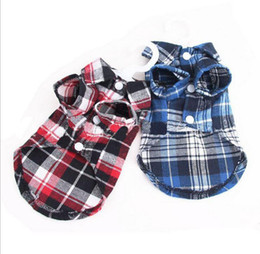 Wholesale Puppy Pet Dog Cat Costumes Grid Checker Dogs Shirt Tops Clothes Coat Apparel Dress XS S M L XL chihuahua Clothes For Dogs L008