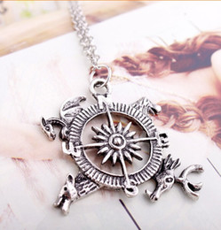 Game Of Thrones Pendant Necklace With Wolf, Stag, Dragon And Lion House Sigils, Antique Silver Necklace For Women Fashion Jewelry