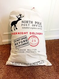 Wholesale 100pcs New Santa Sacks Christmas supplies Santa Claus bag gift bag Red drawstring Gift Bag Christmas Canvas Santa Sack LD339