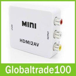Wholesale 1080P HDMI to AV Converter RCA CVBS Audio Video Adapter For HDTV Chip Mini HMDI2AV
