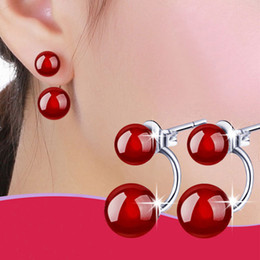 New 925 Sterling Silver Stud Earrings Fashion Natural Red Agate Ear Stud Double Sided red black charms Pearl Earrings