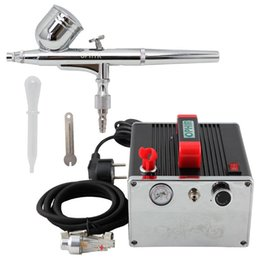 Wholesale OPHIR Portable Pro Airbrush Kit with Air Compressor for Model Car Painting Hobby Makeup Body Tattoo Cake Decorating_AC091 AC004A