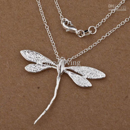 Fashion Jewelry 925 Silver Dragonfly Charms Pendant Necklace 18inch 40pcs