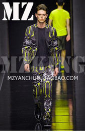 Male singer clubs in Europe and the runway looks yellow black geometric light silk satin elastic suit costumes. S - 6 xl