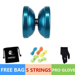 Wholesale Magic YOYO Ball T6 Rainbow Aluminum Alloy Kids Toys Gift Blue String blue Children kid favorite mixed color YOYO toys for