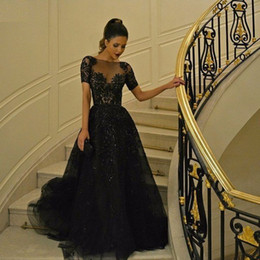 Black Beaded Evening Gowns with Short Sleeves Zuhair Murad Dubai Arabic Sequins Women Wear A-line Formal Prom Dresses