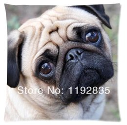 Wholesale Custom funny Pug Dog picture for Zippered Pillow Cases x18 Inch x45cm two sides print